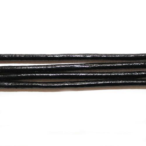Lederband echt Leder glatt schwarz 3mm 1,6m lang
