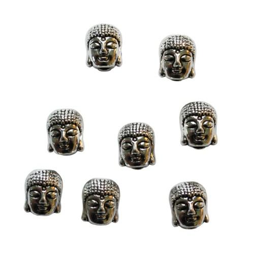 Metallperle Buddha Religion antiksilber 9x7mm 8Stk. beidseitig Gesicht