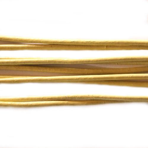 Lederband echt Leder glatt hell gelb 2mm 2m lang