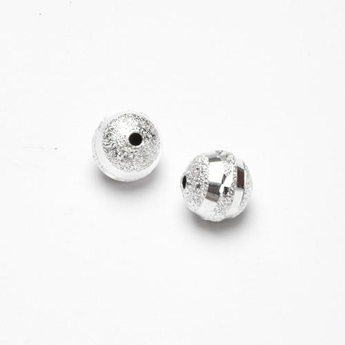 Metallperle Spacer Kugel Stardust silber mit Diamanteffekt (tussi-silber) 10mm 6Stk.