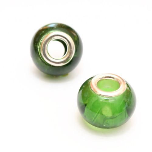 Charms Glas Grün transparent 14x10mm 2Stk.