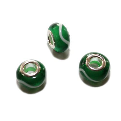 Charms Murano Glas Grün mit weißen Streifen 13x9mm 3Stk.