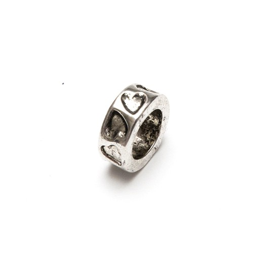 Metallperle Spacer Charms Ring Herz Antiksilber Großloch 12x5mm 8Stk.