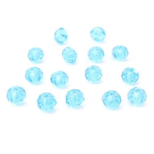 Glasperle Kristallglas Rhombe Bicone facettiert türkis blau glänzend 8x6mm 15Stk.