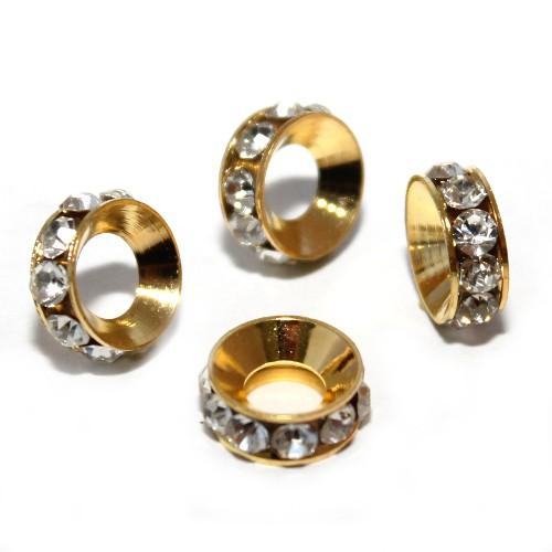 Metallperle Spacer Rondelle Ring mit Strass vergoldet 11,5x4mm 3Stk.