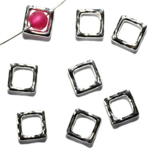 Metallperle Perlen Rahmen versilbert 12x12mm 8Stk.