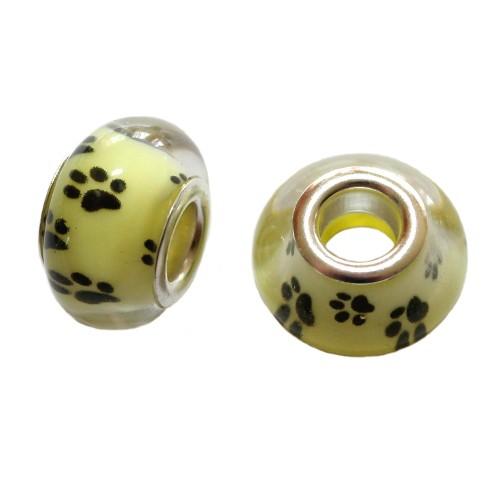 Charms Glas Silber transparent Katze Hund Bär gelb mit schwarzer Pfote Tatze 14x10mm 2Stk.