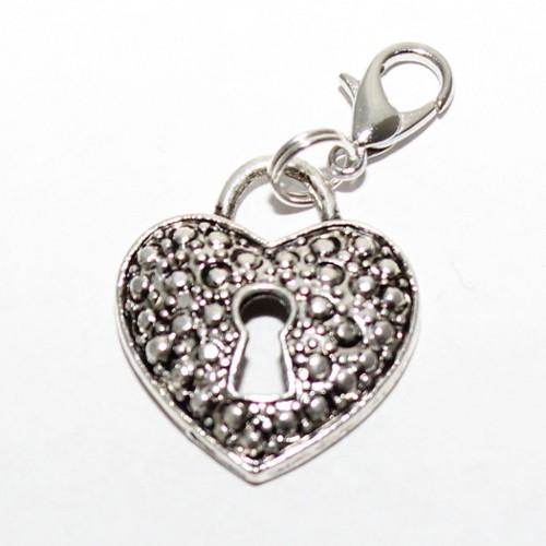Charms Anhänger Herz mit Schlüsselloch mit Karabiner Antiksilber 36x20,5mm 1Stk.