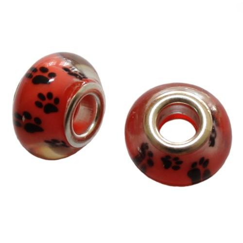 Charms Glas Silber transparent Katze Hund Bär rot mit schwarzer Pfote Tatze 14x10mm 2Stk.