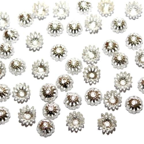 Metallperle Endkappe Perlenkappe Blume versilbert 9x4mm 40Stk.