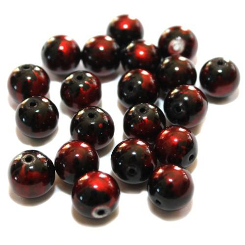 Glasperle Wachsperle Kugel glatt (dunkel-) rot glänzend 10mm 20Stk.