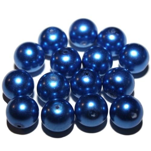 Glas Wachsperle Kugel glatt blau glänzend 14mm 15Stk.