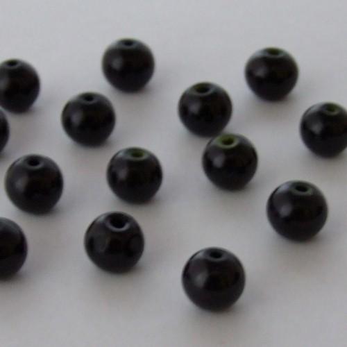 Glasperle Wachsperle Kugel glatt schwarz glänzend 8mm 30Stk.