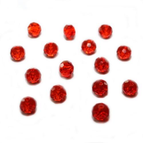 Glasperle Kristallglas Rhombe Bicone facettiert rot glänzend 8x6mm 15Stk.