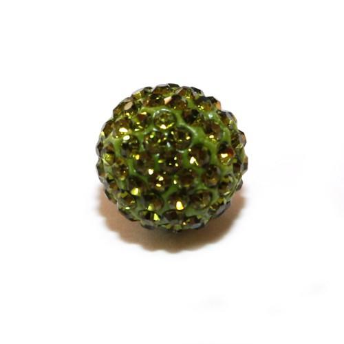 Shamballa 14 mm Kugel oliv grün 1Stk.