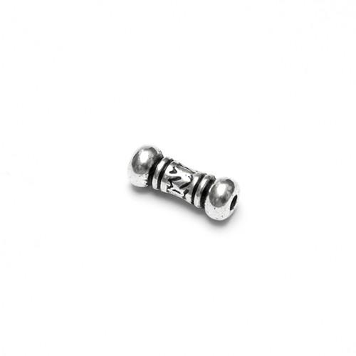 Metallperle Spacer Tube Kugel Muster Antiksilber 14x5mm 10Stk.