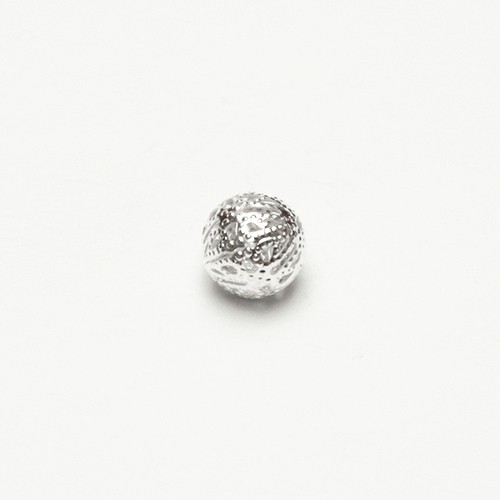 Metallperle Spacer Kugel filigran silber mit Diamanteffekt (tussi-silber) 12mm 10Stk.