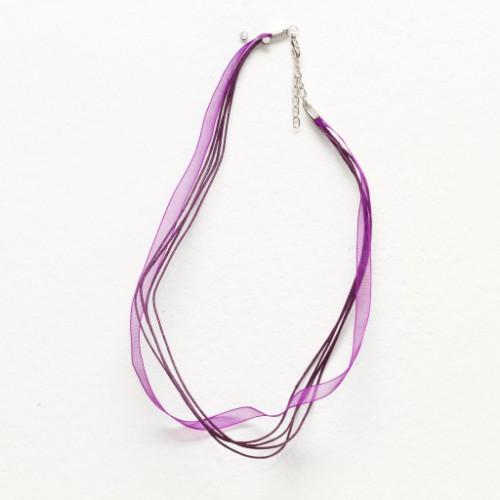 Organza / Wachs Halsband violett mit Karabinerverschluß und Verlängerungskette 43cm 2Stk.
