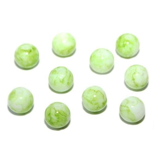Glasperle Kugel glatt marmoriert grün 10mm 30Stk.