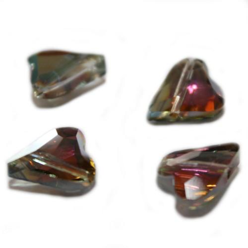 Glasperle Kristallglas facettiert Herz grün 12x10mm 4Stk.