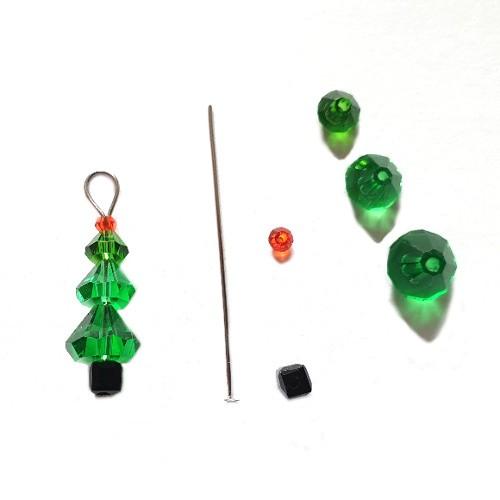 Anhänger Charms Weihnachtsbaum Swarovski DIY zum Basteln 2 Stück 24mm