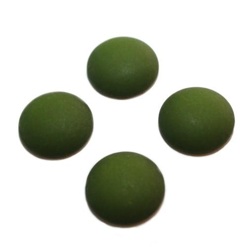 Cabochon Polaris rund flach matt moos grün 10mm 4 Stück