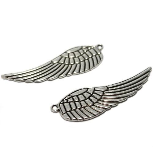 Metallperle Spacer Engel Fee Flügel Antiksilber 49x16mm 2Stk.