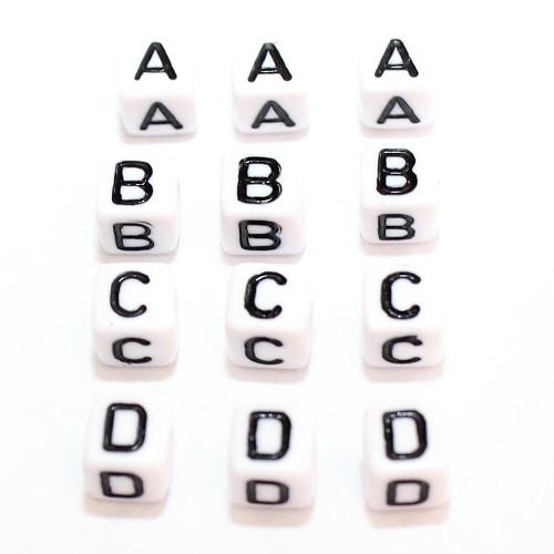 Buchstaben Würfel Acryl weiß 6x6mm Großloch 6x26=156Stk.