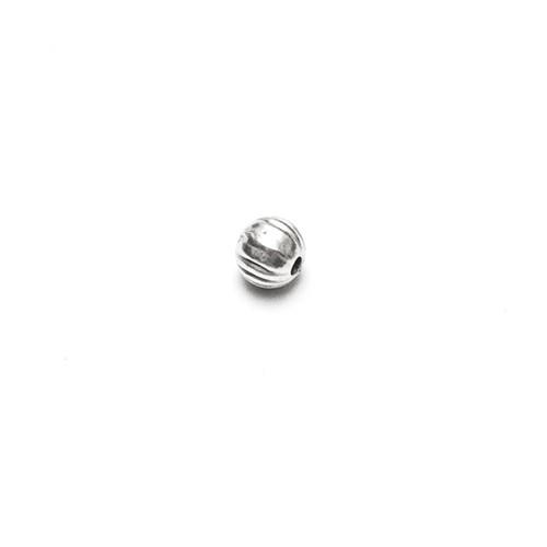 Metallperle Spacer Kugel gestreift Antiksilber 4mm 20Stk.