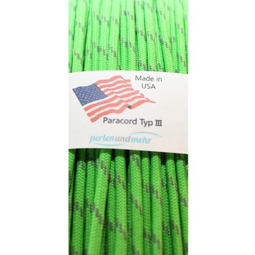 Paracord - perlenundmehr - reflektierend Farbe Neon Grün 1 m