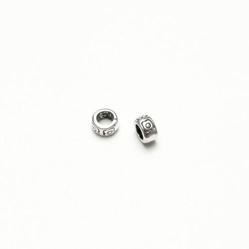 Metallperle Spacer Charms Ring geschnitzt Antiksilber Großloch 7x4mm 10Stk.