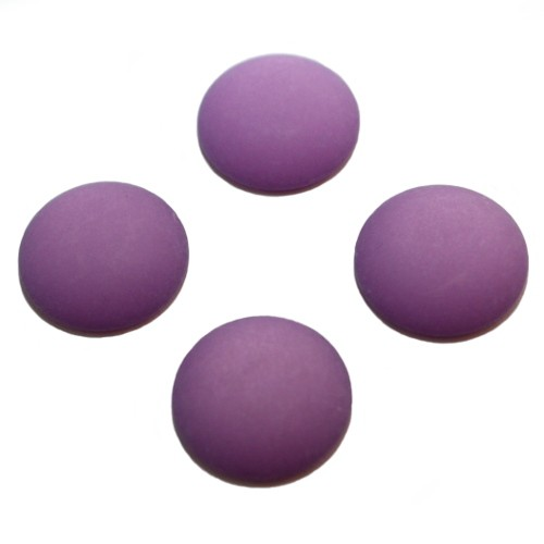 Cabochon Polaris rund flach matt lila 10mm 4 Stück