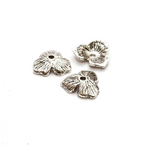 Metallperle Endkappe Perlenkappe Blume Antiksilber 11x10mm 10Stk.