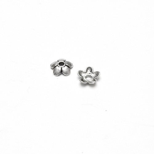 Metallperle Endkappe Perlenkappe Blume Antiksilber 6x6mm 30Stk.