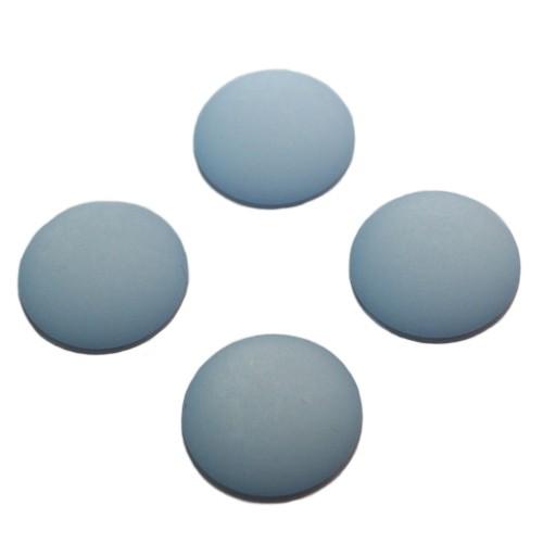 Cabochon Polaris rund flach matt himmel - blau 10mm 4 Stück