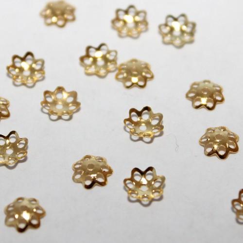 Metallperle Endkappe Perlenkappe Blume vergoldet 6mm 100Stk.