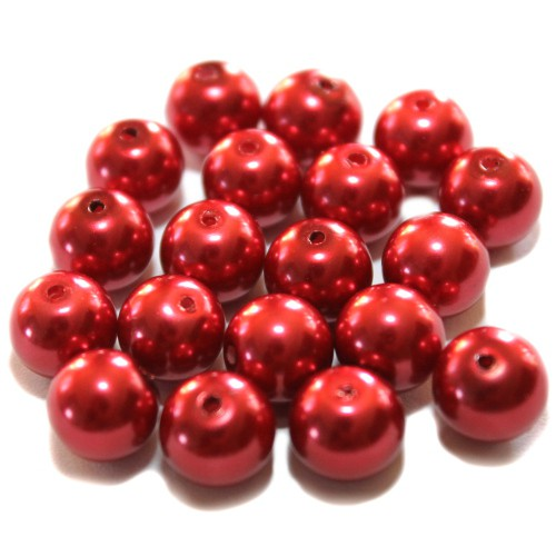 Glasperle Wachsperle Kugel glatt rot glänzend 10mm 20Stk.