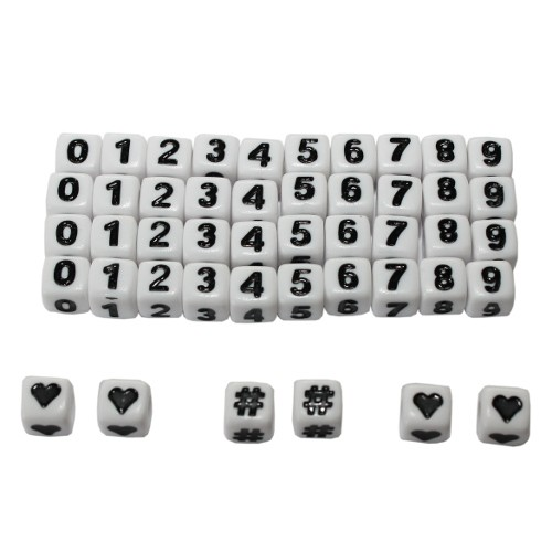 Buchstaben Perlen Acryl Würfel 6x6mm Zahlen Großloch 46Stk. alle Zahlen 4x