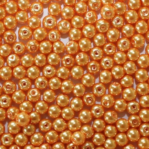 Glasperle Wachsperle Kugel glatt orange glänzend 6mm 60Stk.