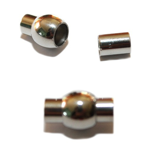 Magnetverschluß Edelstahl Kugel oval silber 19x11mm 1Stk.