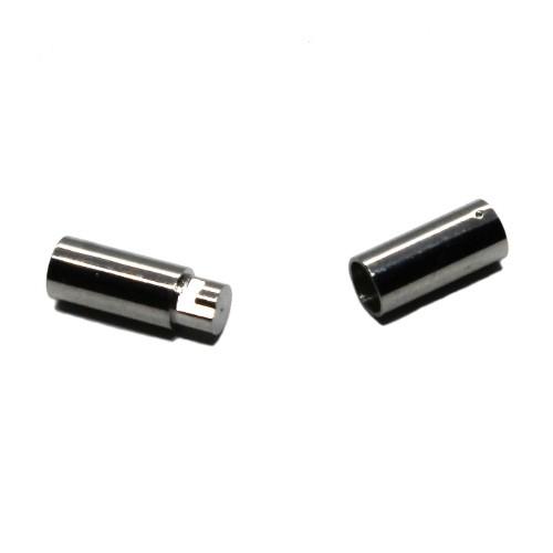 Steck- und Dreh Verschluß Edelstahl rund silber 21x4,8mm für 4mm 1Stk.