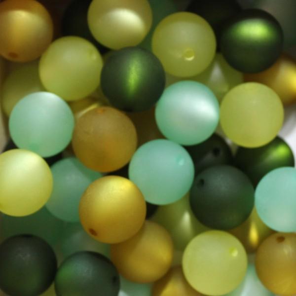 Polaris Kugel Perle matt Mix 20 16mm Stück grün / olive - Töne