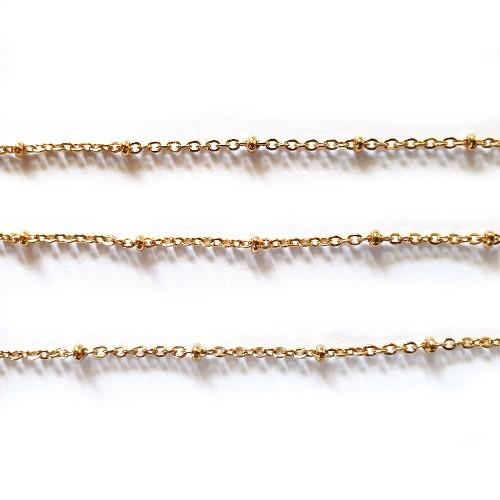 Kette Edelstahl gold extra zart 2 x 1,5mm mit Kugel 100cm lang