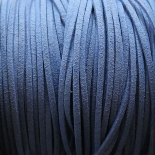 Wildlederimitat weich flach 3x1,5mm Microfaser blau 5 m lang