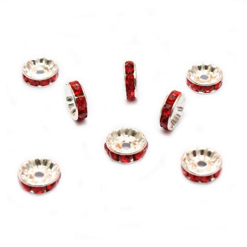 Metallperle Spacer Rondelle versilbert mit Strass rot 10mm 10Stk.
