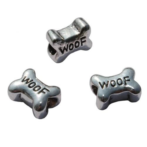 Metallperle Charms Großloch antiksilber Knochen Hund Woof 15x11mm 3Stk.