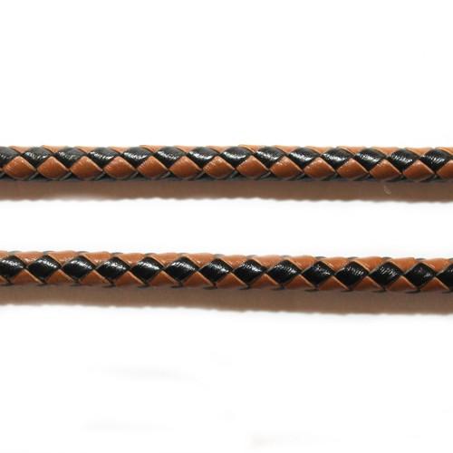 Lederband echt Leder glatt geflochten schwarz und braun 5mm 1m lang