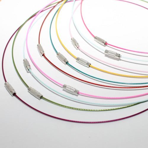 Halsreifen Metall mit Drehverschluß Mix 46cm 10Stk.