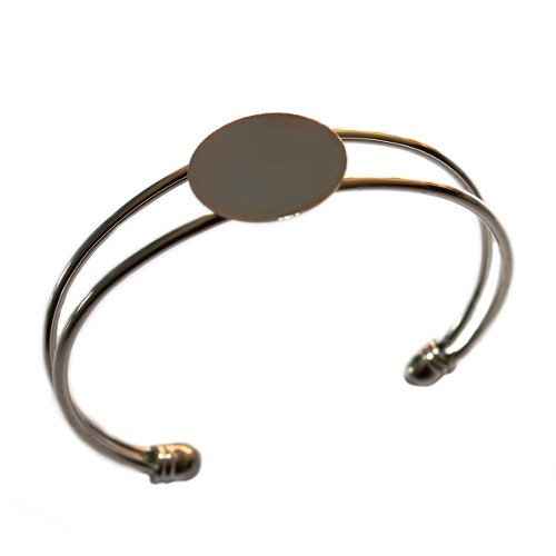 Armband Träger Link Platte Cabochon versilbert für ab 22mm 1 Stück