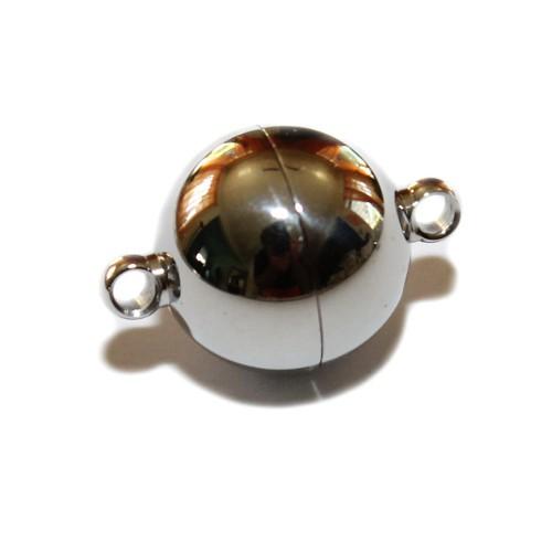 Magnetverschluß Edelstahl Kugel mit Öse silber 23x16mm 1Stk.